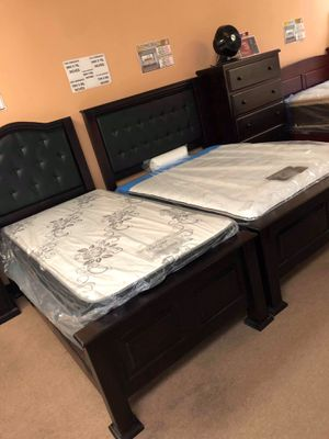 Pinewood bed frame with mattress included twin size for Sale in Burbank, CA