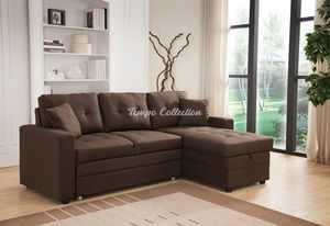 New Sectional Sofa with Roll-out Bed and Storage, Brown, SKU# MLT8008BRTC for Sale in Norwalk, CA