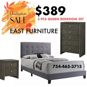 New Grey 3 pieces queen bedroom set (NO MATTRESS) FINANCING AVAILABLE 100 DAYS NO INTEREST for Sale in Boca Raton, FL