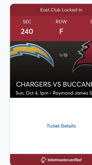 2020 Buccaneers VS Los Angeles Chargers on October 4th for Sale in Tampa, FL