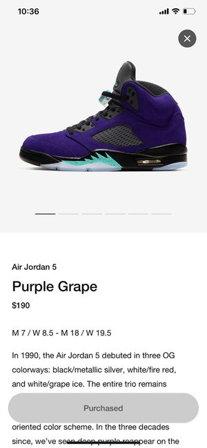 Jordan 5 alternate grape for Sale in Lorton, VA