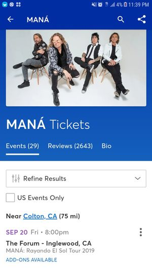 Mana tickets for Sale in Colton, CA