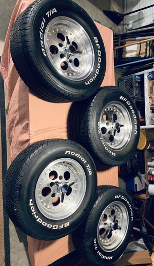 Gambler Rims / mags / wheels - 2)15x8 and 2)14x6.5 with spinners, towers and BFGoodrich tires w 75% tread for Sale in Oak Harbor, WA