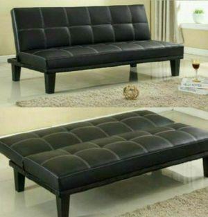 Black Leather Futon Sofa for Sale in Atlanta, GA