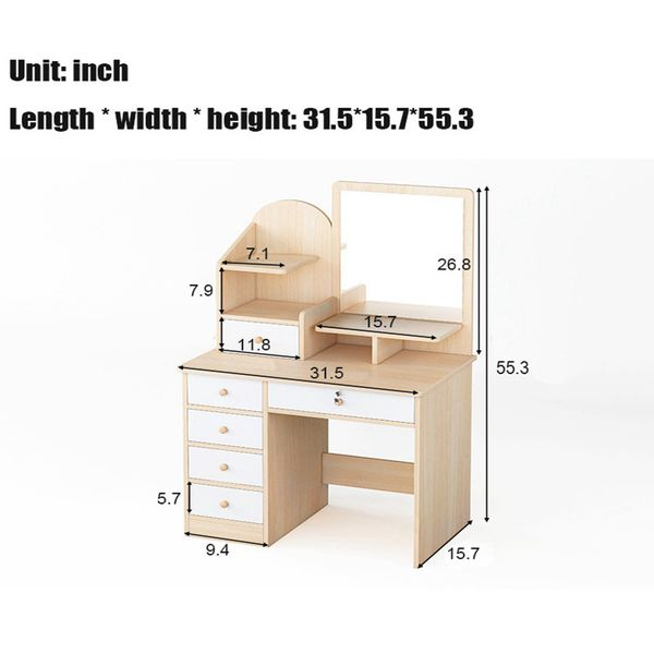 Dressing Table Makeup Dressing Table with Mirror 4 Mini Drawers with Sliding Rails Vanity Table Set