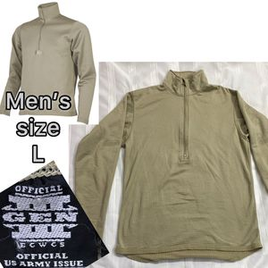 Men's POLARTEC long-sleeve size L - Official Army Issue military grade, waffle thermal, half-zip longsleeve, tan for Sale in La Mirada, CA