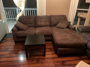 Brown Sectional Couch with Black End Table for Sale in Cary, NC