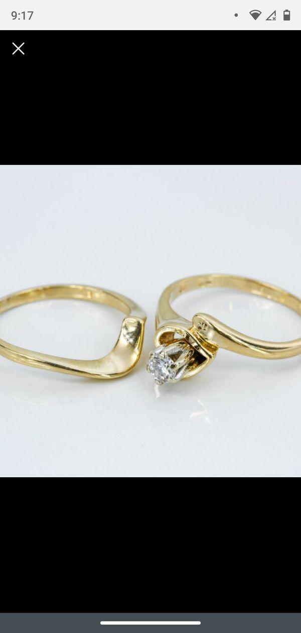 14k Gold Diamond Wedding Ring Set