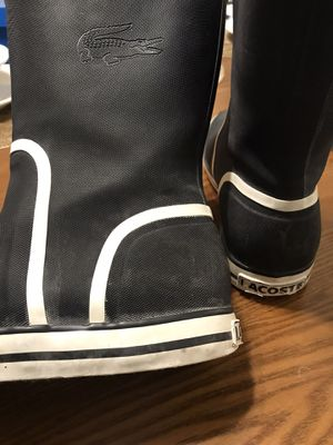 Lacoste raining boots size women 8 black for Sale in Rancho Cucamonga, CA