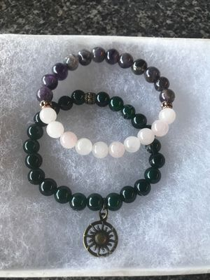 African jade with sun charm and amethyst with rose quartz bracelet for Sale in Lodi, CA