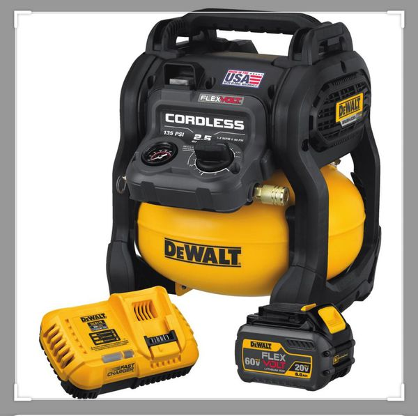 Dewalt flexvolt 2.5 Gal 60v brushless cordless electric air compressor with battery and charger included