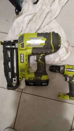 Ryobi battery powered nail gun and drill 18v for Sale in Phoenix, AZ