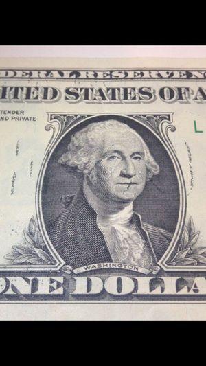 "Highly Rare ""ONE"" Ink Bleed-Through Error $1 Bill-- Very Unusual & Hard to Find Error Dollar! for Sale in Reston, VA"