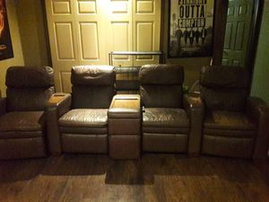 Entertainment room reclining leather chairs. for Sale in Orlando, FL
