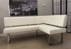 Stunning white leather corner kitchen sectional bench for dining table staging furniture for Sale in Peoria, AZ