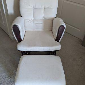 Storkcraft Premium Hoop Glider and Ottoman (Espresso Base, Beige Cushion) – Excellent Condition for Sale in Herndon, VA