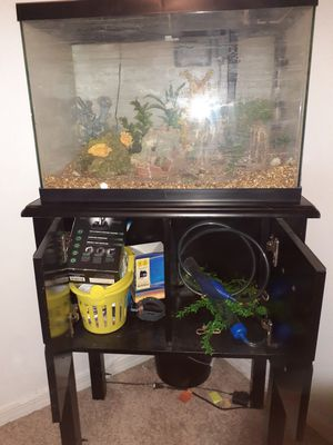 Fish tank and stand and all the accessories in it for Sale in PT CHARLOTTE, FL
