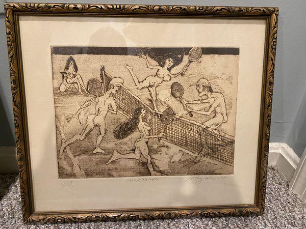 Original painting tennis