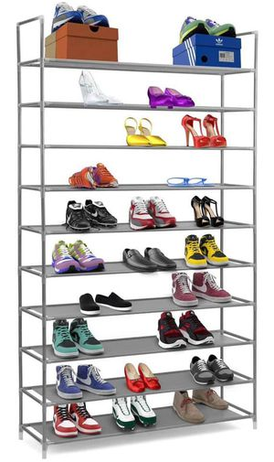 10 Tier Stackable Shoe Rack Storage Shelves - Stainless Steel Frame Holds 50 Pairs of Shoes for Sale in Tucker, GA