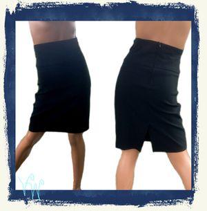 Vintage 1990s Spring Street Black High Waist Stretch Knit Straight Pencil Short Mini Skirt - L for Sale in Paris, KY