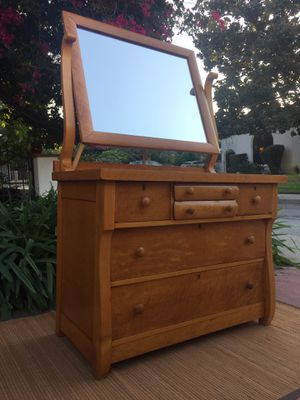 Antique Birdseye Maple Empire 6 Drawer Dresser Vanity w Mirror for Sale in Glendale, CA