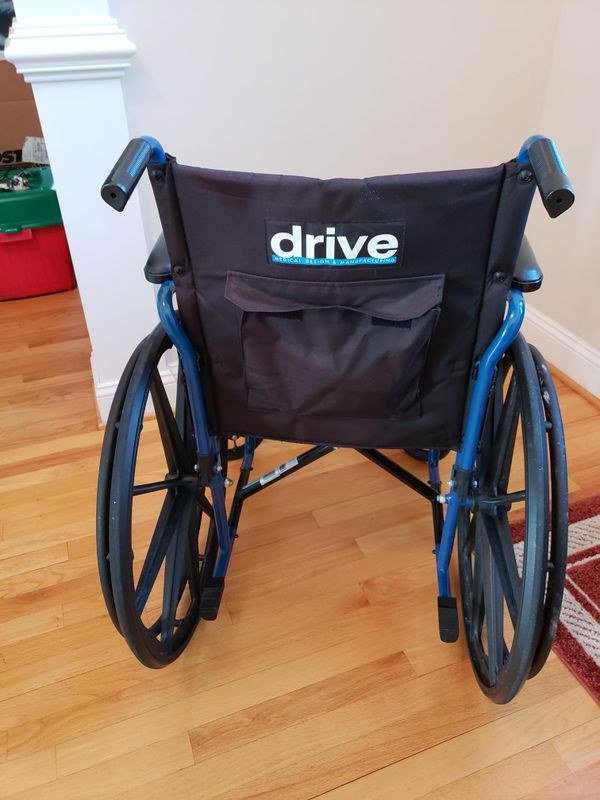 Wheelchair by Drive. Model is Blue Streak Series.