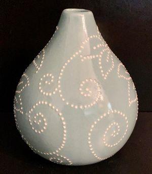 Blue Ceramic Floral Modern Design Pattern Flower Plant Planter Centerpiece Vase Home Decoration Accent by Crate & Barrel for Sale in Chapel Hill, NC