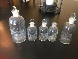 Antique Glass chemistry bottles for Sale in O'Fallon, MO