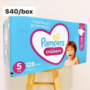 Size 5 (27+ lbs) Pampers Cruisers (128 baby diapers) *PROMO* BUY ANY 2 PAMPERS BRAND BIG BOXES, GET 1 FREE HUGGIES TUB 64ct for Sale in Anaheim, CA