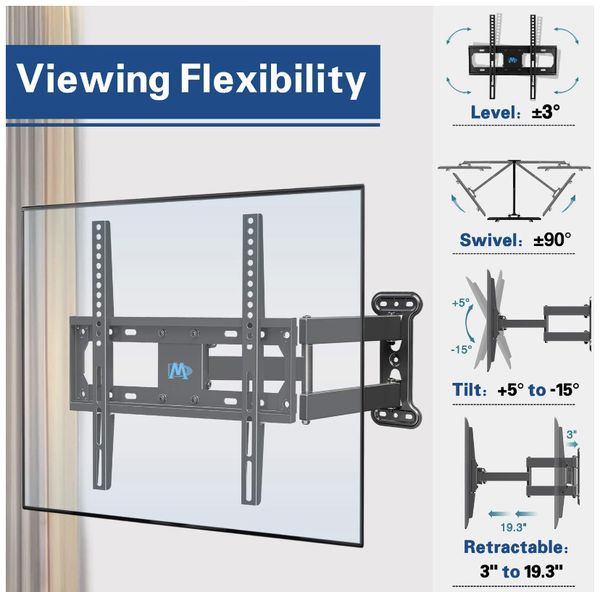 Mounting Dream UL Certificated TV Mount Full Motion for 26-55 Inch LED,LCD,OLED Flat Screen TV, Perfect Center Design, TV Wall Mount Bracket with Art