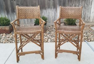 """Set of Bamboo & Leather 24 1/2"""" Bar Stools for Sale in Manteca, CA"""