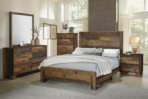 4PC QUEEN BRAND NEW RUSTIC PINE BEDROOM SET: QUEEN BED FRAME, DRESSER, MIRROR, NIGHTSTAND for Sale in Antioch, CA
