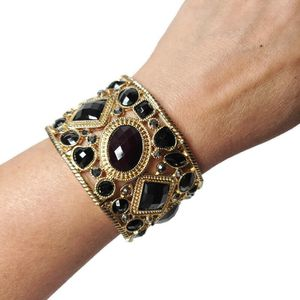 Gold Tone Statement Stretch Bracelet With Black Rhinestones for Sale in Temecula, CA