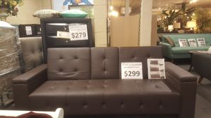 "Brand new 79"" brown faux leather storage futon for Sale in San Diego, CA"