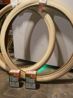 DURO CREAM COLORED 26 X 2.125 TIRES AND TUBES BUNDLE!!!Q for Sale in Newport Beach,  CA