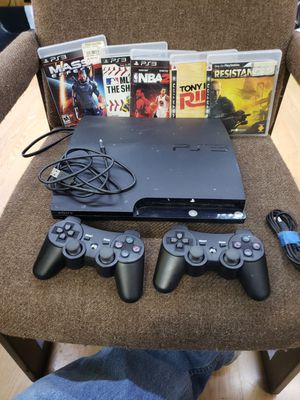 PS3 with two controllers five games and chords that goes with it $120 for Sale in Hartsville, TN