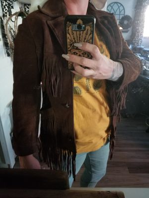 Leather brown fringe jacket size 8/10. for Sale in Federal Way, WA