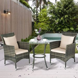3 pcs outdoor rattan wicker furniture set 2 chairs and 1 glass top coffee table swimming pool side backyard patio porch for Sale in Long Beach, CA