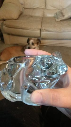 Vintage glass frog candle-holder for Sale in Memphis, TN