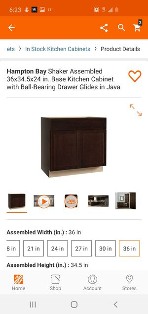 Hampton Bay Shaker Assembled 36x34.5x24 in. Base Kitchen Cabinet with Ball-Bearing Drawer Glides in Java for Sale in Dallas, TX