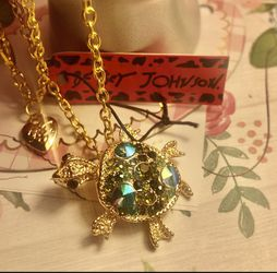 Betsey Johnson 3D Rhinestone 18 ' Adjustable Blue Turtle Brooch Necklace 2' Alloy for Sale in Northfield,  OH