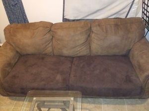 Brown Suede Couch with Tempered Glass Table for Sale in Fort Wayne, IN