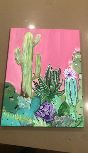 """""""Succulent garden"""" Acrylic hand painted canvas 12x16 for Sale in Anaheim, CA"""