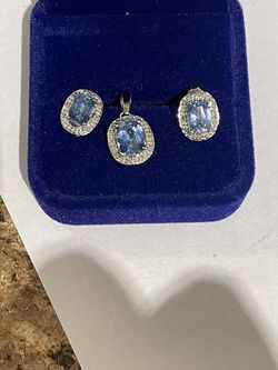 10k White gold mystic topaz diamonds earrings and pendant for Sale in Weymouth,  MA
