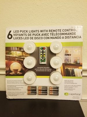 Wireless LED Puck Lights With Remote Control, Battery Powered Dimmable Kitchen Under Cabinet Lighting-6 Pack for Sale in Murphy, TX