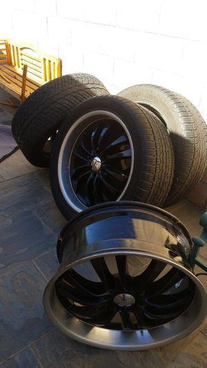 22 black Rims with tires 6 lug for Sale in Pomona, CA