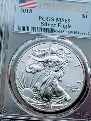 2018 Silver Eagle PCGS MS-69 *1ST STRIKE *FLAG LABEL for Sale in Windsor, MA