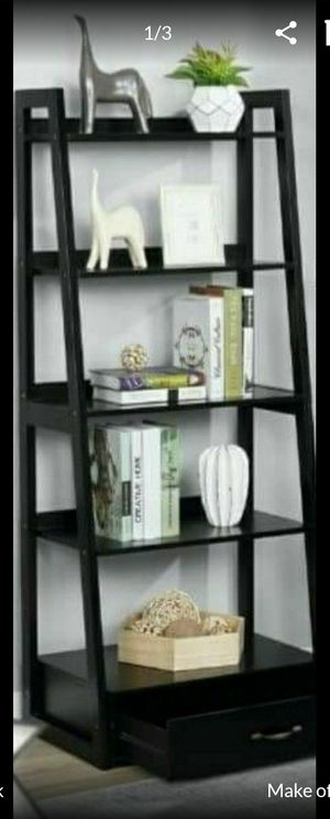 "64"" Black Wood 5-shelf Ladder Bookcase with Drawer for Sale in Corona, CA"