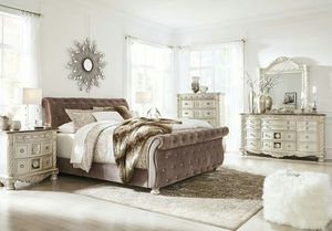 ✔QUALITY✔ Cassimore Gray/Pearl Silver Upholstered Bedroom Set for Sale in Mount Rainier, MD