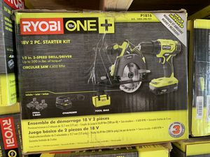 Brand new ryobi 18v 2pc starter kit 1/2 drill circular saw combo not negotiable for Sale in Plant City, FL